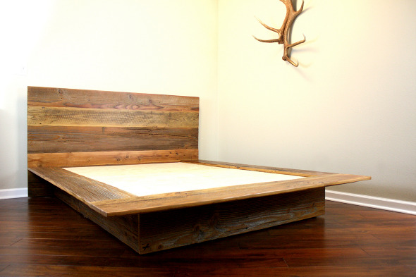 Cascade' reclaimed wood platform bed