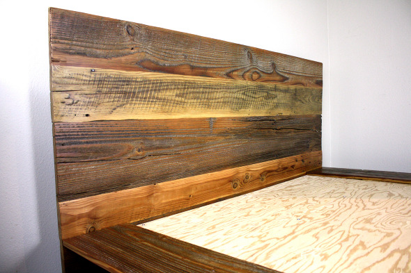 'Kempema' reclaimed wood platform bed - MFEO