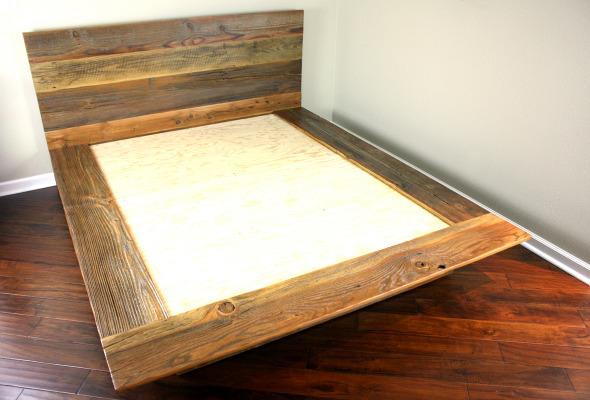 'Kempema' reclaimed wood platform bed - MFEO - Kempema' Reclaimed Wood Platform Bed - MFEO
