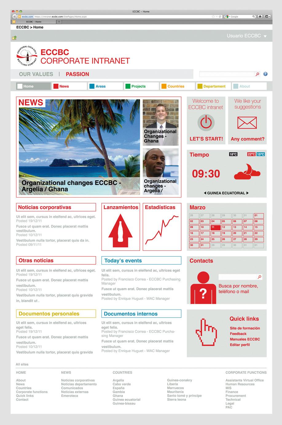 booth intranet Equatorial Coca-Cola Bottling Company / corporate intranet - gira