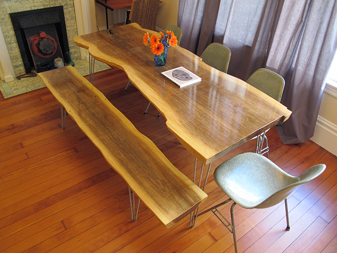 Attirant My Wife And I Love The Look Of Reclaimed Wood Slab Tables. But After  Researching, The Price For A 6 Foot Slab Of Redwood Was Pretty Steep.